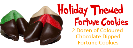 Holiday Themed Chocolate Dipped Fortune Cookies